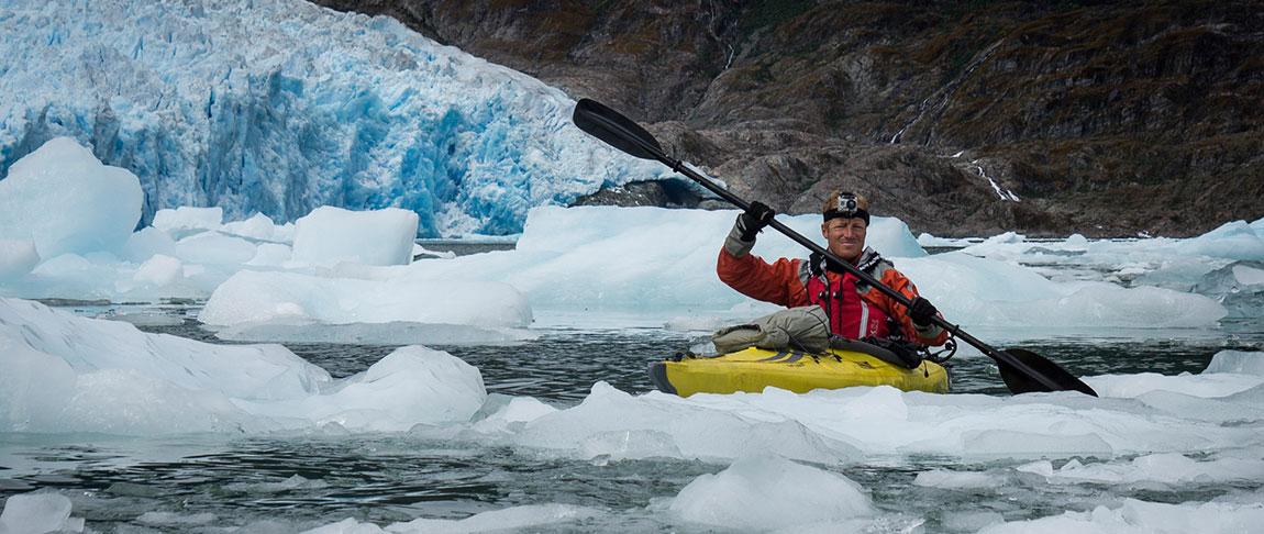 Amabassador Ruggero Paddling Icebergs in Patagonia